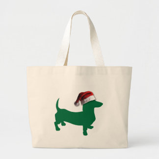 Dachshunds with Christmas Hats Large Tote Bag