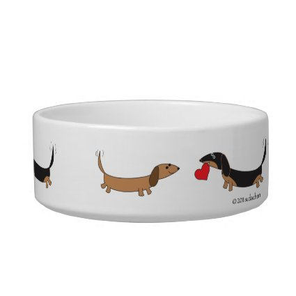 Dachshunds with Heart-Small Dog Bowl by Sudachan