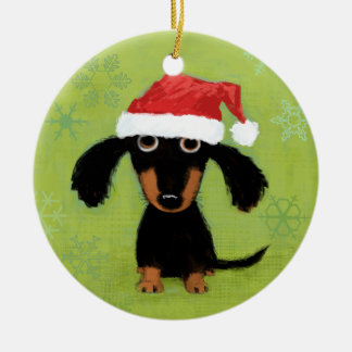Dachsie Clause Double-Sided Ceramic Round Christmas Ornament