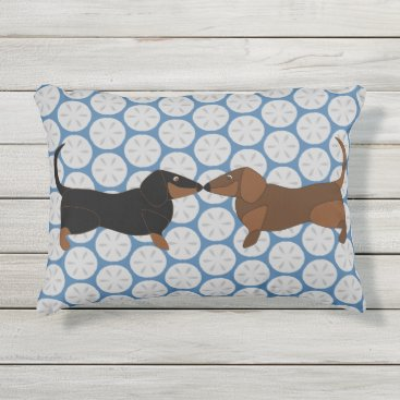 Beach Themed Dachsies on Sand Dollars Outdoor Pillow