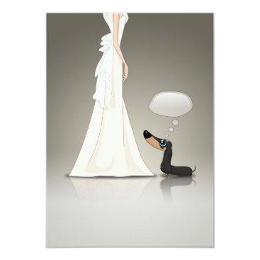 Wedding Themed Dachsund and Bride Card