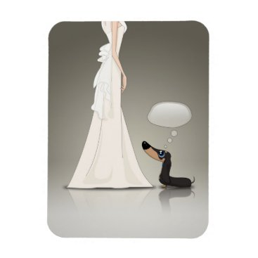 Wedding Themed Dachsund and Bride Magnet