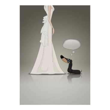 Wedding Themed Dachsund and Bride Poster