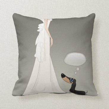 Wedding Themed Dachsund and Bride Throw Pillow