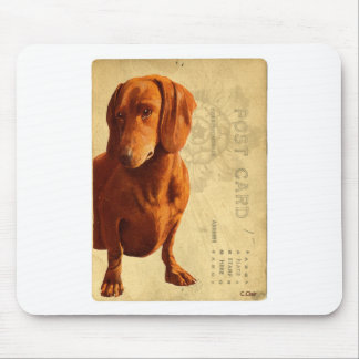 Dachsund Vintage Postcard Mouse Pad