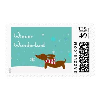 Dachsund Wiener Wonderland Holiday Postage Stamp