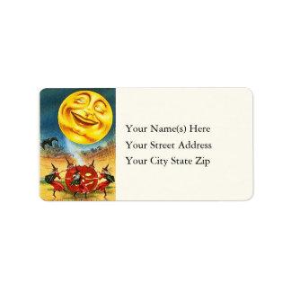 Dacing Witches Around Jack O Lantern Address Label