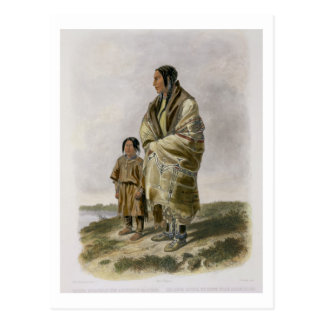 Dacota Woman and Assiniboin Girl, plate 9 from vol Postcard