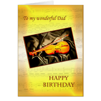 Dad, a musical birthday card with a violin