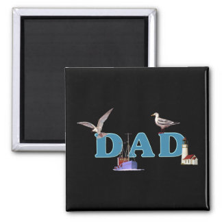 Dad Ahoy 2 Inch Square Magnet