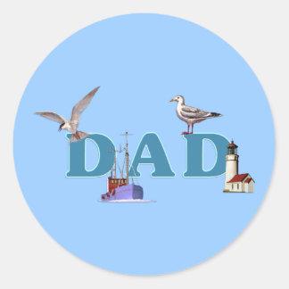 Dad Ahoy Classic Round Sticker