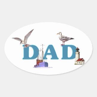 Dad Ahoy Oval Sticker