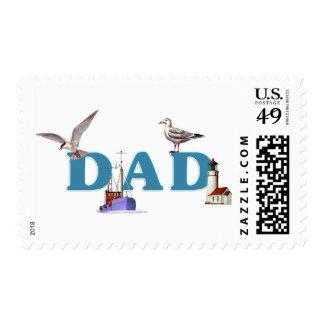 Dad Ahoy Postage Stamp