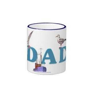Dad Ahoy Ringer Coffee Mug