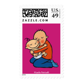 Dad and Baby Hugging Postage Stamp