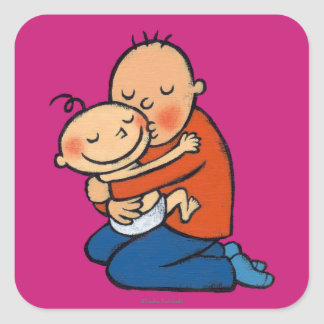Dad and Baby Hugging Square Stickers