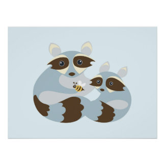 Dad and Baby Raccoon with Bumble Bee Baby Poster
