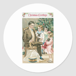 Dad and Children on Christmas Classic Round Sticker