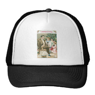 Dad and Children on Christmas Hat
