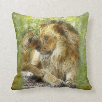 Dad and Cub Painterly Portrait Throw Pillow
