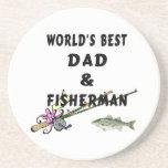 Dad And Fisherman Beverage Coaster