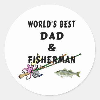 Dad and Fisherman Classic Round Sticker