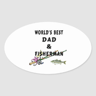 Dad and Fisherman Oval Sticker