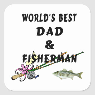 Dad and Fisherman Square Sticker