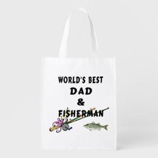 Dad and Fishing Reusable Grocery Bag