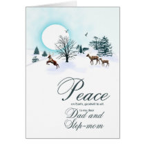 Dad and step-mom, Christmas scene with reindeer Card
