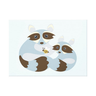 Dad, Baby Raccoon & Bee Stretched Canvas Print