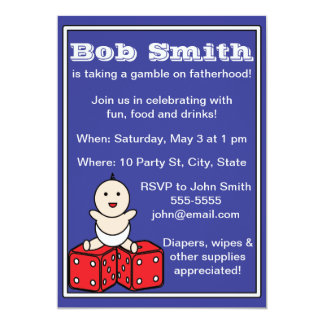 Dad Baby Shower Baby Dice Gamble 5x7 Paper Invitation Card