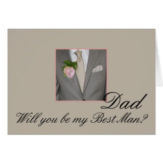 Dad Best Man request Grey Suit Greeting Card