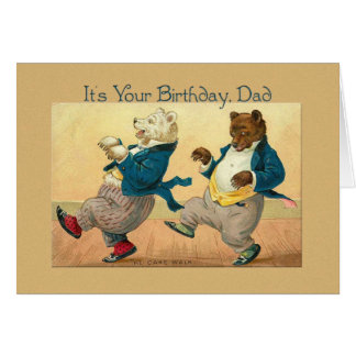 dad birthday  dancing bears vintage card