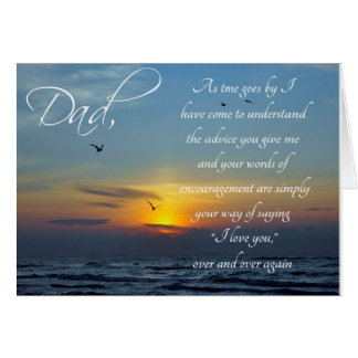 Dad Birthday Thank You Sunset and Ocean Card