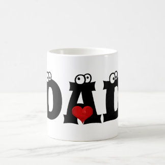 Dad Black White Text Red Heart Love Mug