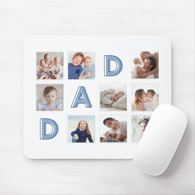 DAD Blue Letters Nine Family Photo Grid Collage Mouse Pad