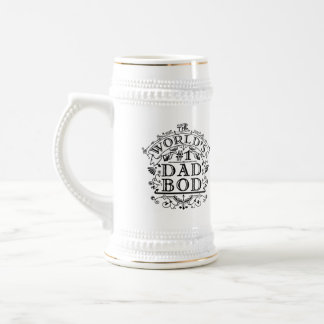Dad Bod Funny Fathers Day Antique Typography Joke Beer Stein