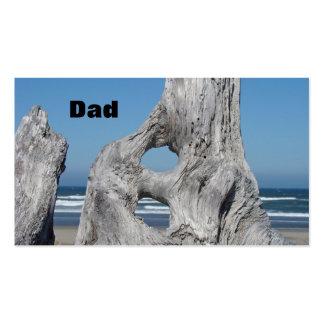 Dad Business Cards for Men Ocean Waves Driftwood