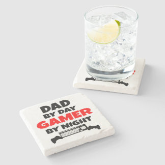 Dad by Day Gamer by Night Stone Coaster