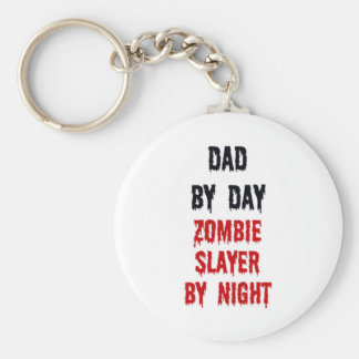 Dad By Day Zombie Slayer By Night Basic Round Button Keychain