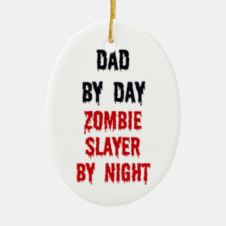 Dad By Day Zombie Slayer By Night Double-Sided Oval Ceramic Christmas Ornament
