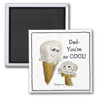 Dad Cartoon Ice Cream Cones Magnets