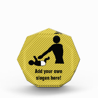 Dad Changing Baby's Diaper - Novelty Customizable Acrylic Award