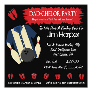 "Dad-chelor Bowling Party Invitations 5.25"" Square Invitation Card"
