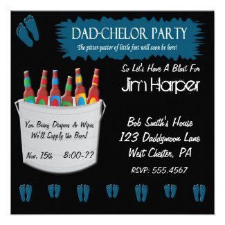 Dad-chelor Diaper Keg Party Invitations