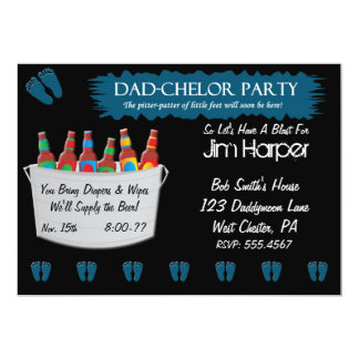 "Dad-chelor Diaper Keg Party Invitations 5"" X 7"" Invitation Card"
