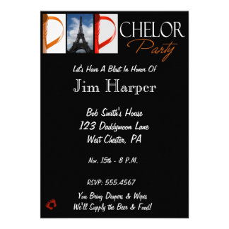 Dad-chelor Party Invite in Alphabet Photography