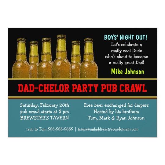Dad Chelor Party Pub Crawl Diaper Beer Invitations Zazzle Com