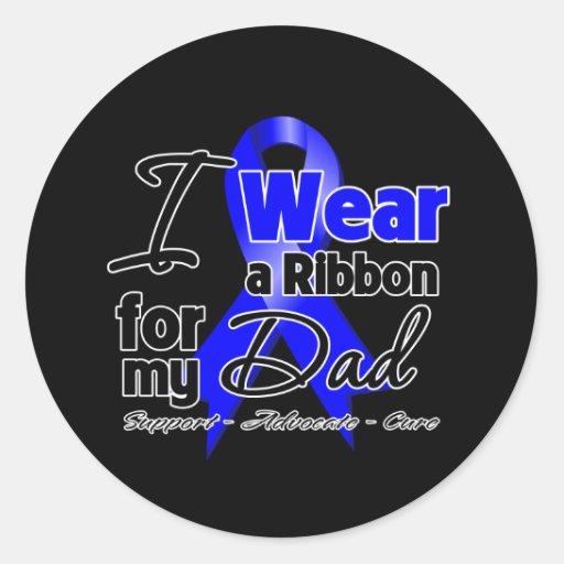 Dad - Colon Cancer Ribbon Classic Round Sticker